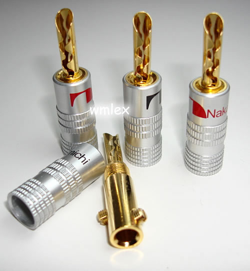 12 PCS Nakamichi BFA Speaker banana plug connector 24k Gold plated ...